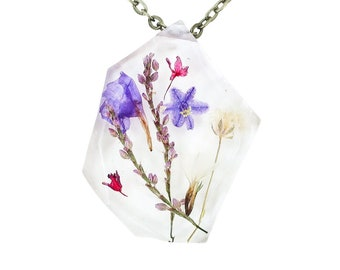 """Real Dried Flower Resin Necklace - Ladybird Collection - """"Resolution"""""""