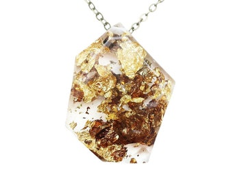 Geometric Gold Flake Resin Necklace