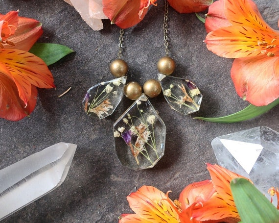 Dried Flower and Brass Bead Statement Necklace