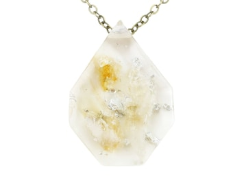 Citrine and Silver Leaf Eco Resin Necklace