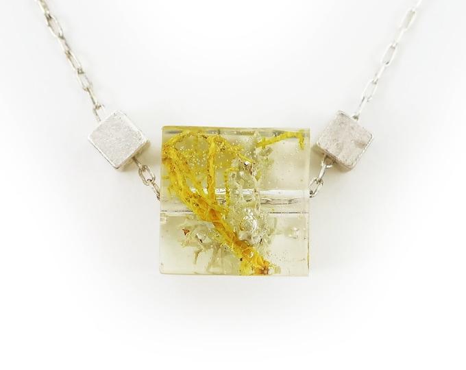 Tiny Minimalist Moss Cube Necklace