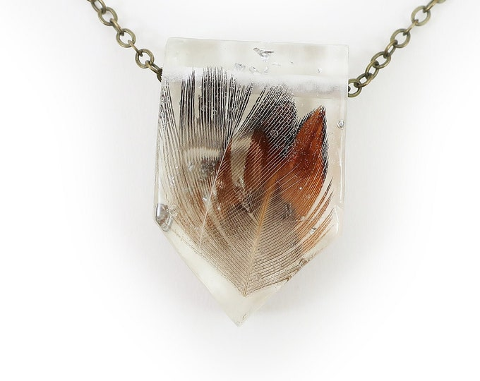 Feathers and Silver Leaf Resin Necklace