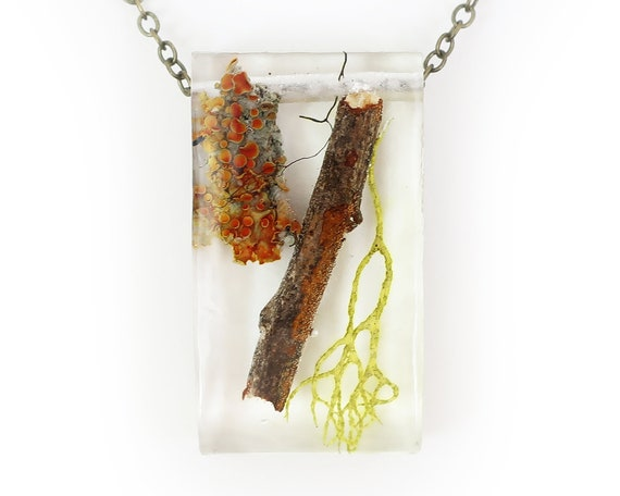 Twiggy Terrarium Rectangle Necklace .