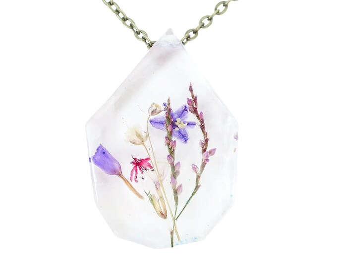 """Real Dried Flower Resin Necklace, Terrarium Necklace, Ladybird Collection - """"Hope"""""""