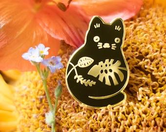 Plump Plant Kitty Enamel Pin - Silver or Gold