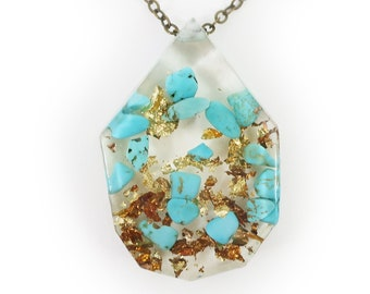 Genuine Turquoise and Gold Flake Eco Resin Necklace   005