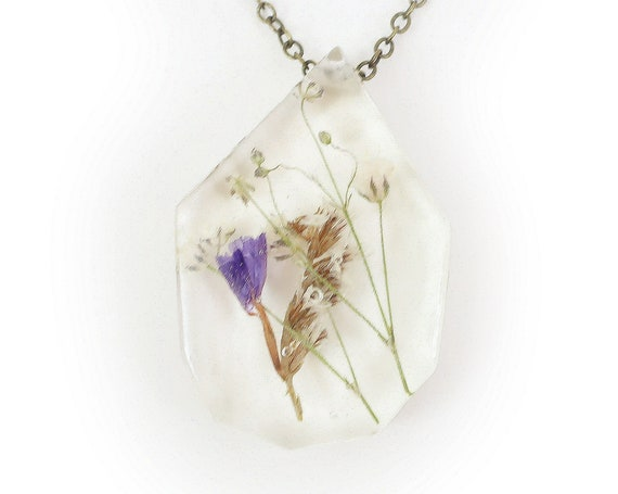 Flower Eco Resin Herbarium Necklace