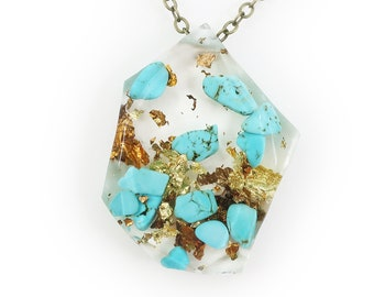Genuine Turquoise and Gold Flake Eco Resin Necklace   003