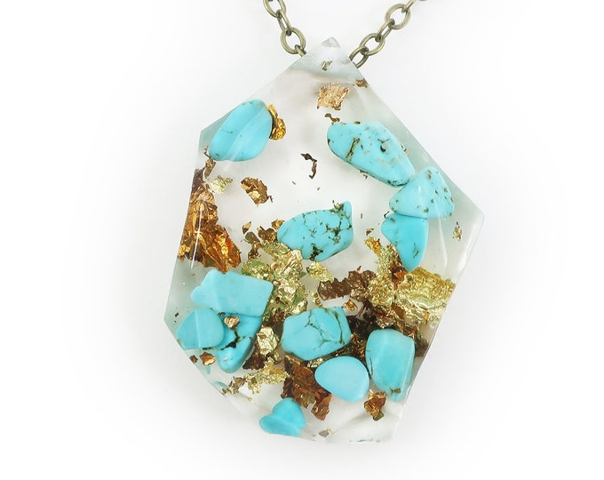 Genuine Turquoise and Gold Flake Eco Resin Necklace | 003