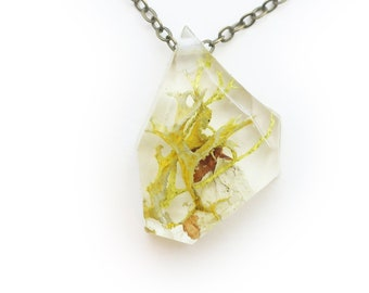 Geometric Terrarium Moss Necklace