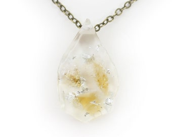 Citrine and Silver Leaf Eco Resin Pendant   001