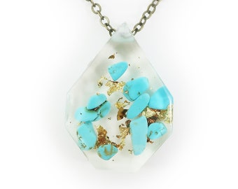 Genuine Turquoise and Gold Flake Eco Resin Necklace   002