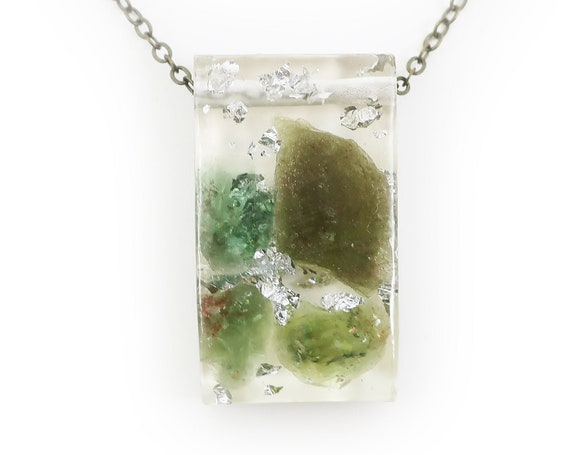Rough Peridot and Silver Leaf Resin Necklace