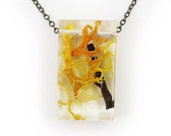 Twiggy Resin Terrarium Rectangle Necklace