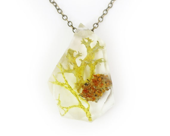 Geometric Terrarium Resin Lichen Pendant Necklace .