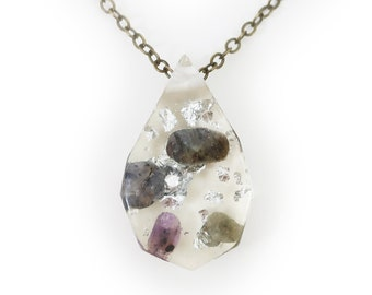Tumbled Stone and Silver Leaf Eco-Resin Gemstone Necklace