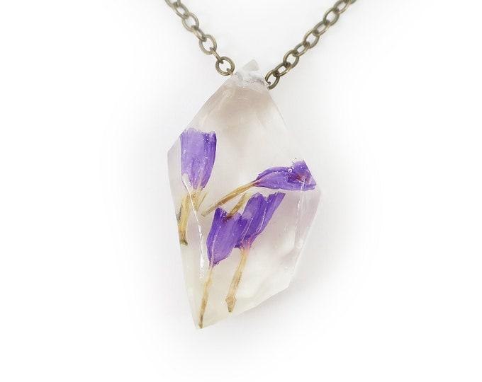 Geometric Purple Flower Necklace