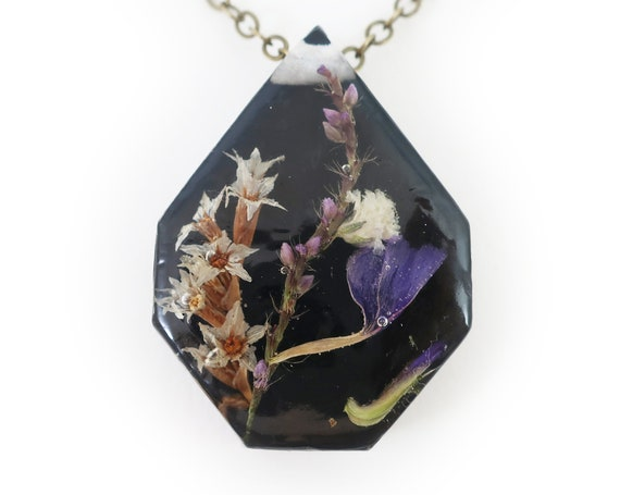 Midnight Flower Eco Resin Necklace
