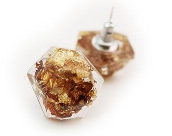 Geometric Gold Flake Resin Earrings