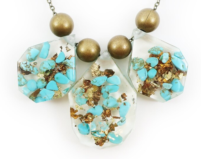 Genuine Turquoise and Gold Flake Resin Statement Necklace