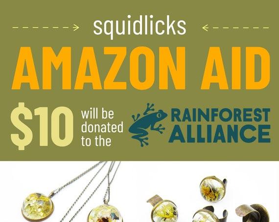 Squidlicks Amazon Aid - Eco Resin Dome Terrarium Necklace or Ring
