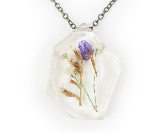 Real Dried Flower Herbarium Eco Resin Necklace