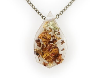 Geometric Gold Flake Resin Necklace   001