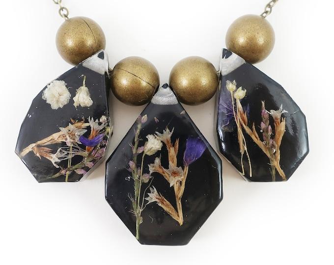 Midnight Flower Statement Resin Herbarium Necklace