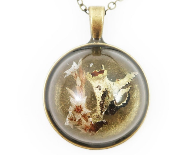 Large Dome Real Flower and Lichen Resin Necklace