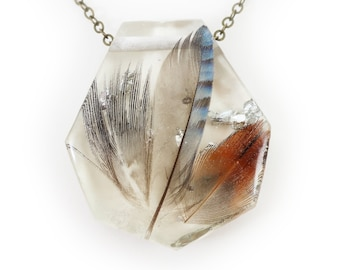 Eurasian Jay Feather in Resin and Silver Leaf Necklace