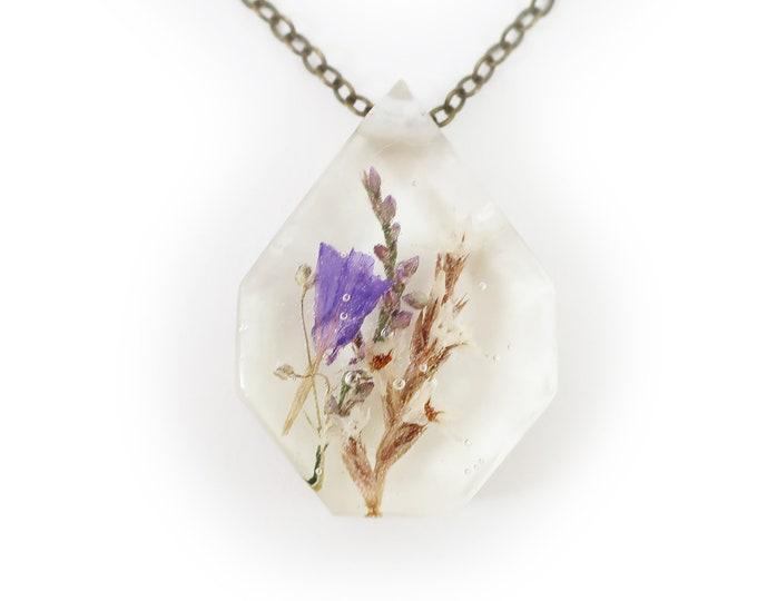 Medium Purple Flower Eco Resin Necklace