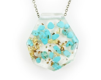 Genuine Turquoise and Gold Flake Eco Resin Necklace   006
