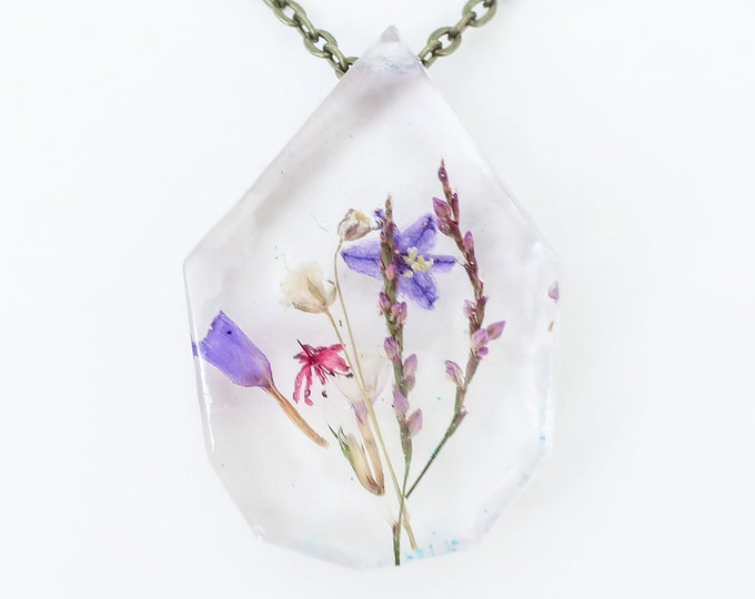 """Real Dried Flower Resin Necklace - Ladybird Collection - """"Hope"""""""