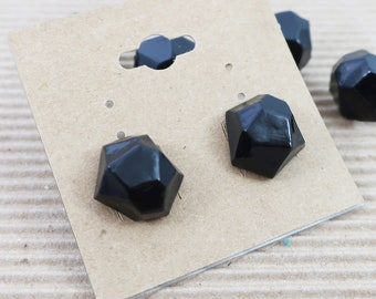 Geometric Minimal Black Stud Resin Earrings