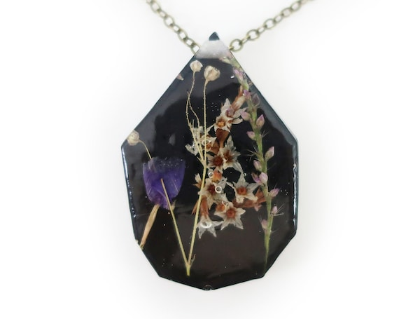 Midnight Flower Eco Resin Herbarium Necklace