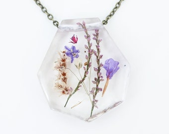 """Ladybird Collection - """"Protection"""" - Real Dried Flower Resin Necklace"""