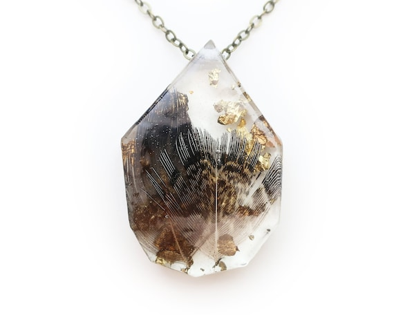 Feather in Resin and Metallic Leaf Necklace