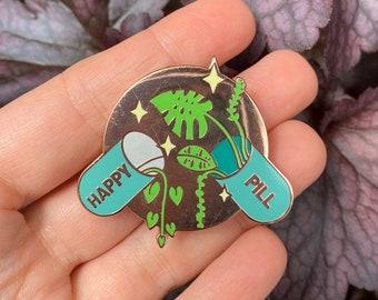 Happy Pill Plant Enamel Pin