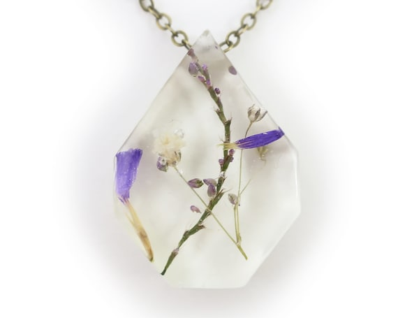 Medium Purple Flower Eco Resin Necklace