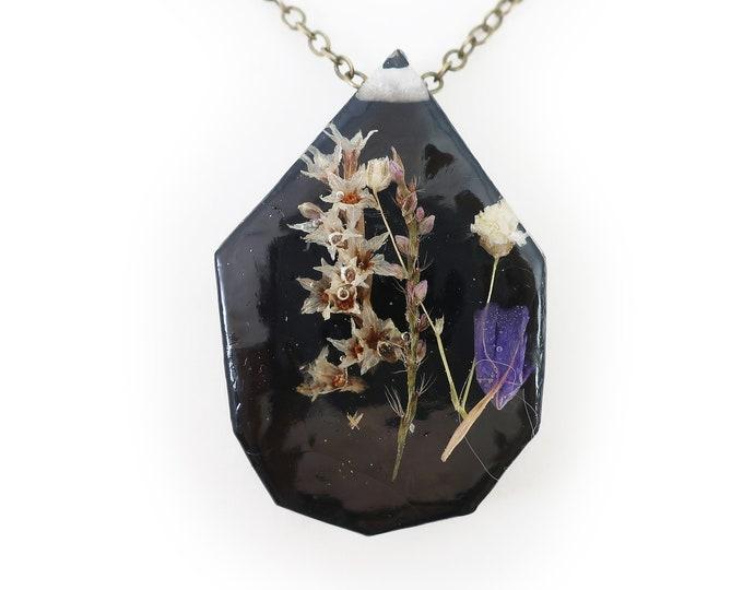 Midnight Flower Eco Resin Herbarium Necklace