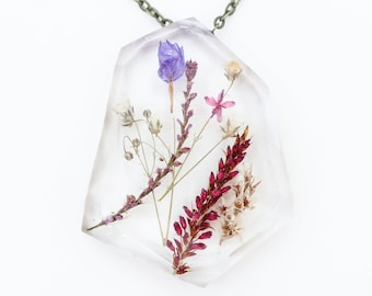 """Ladybird Collection - """"Abundance"""" - Real Dried Flower Resin Necklace"""