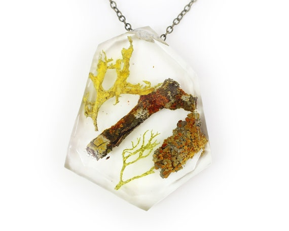Geometric Twig Terrarium Eco Resin Lichen Necklace