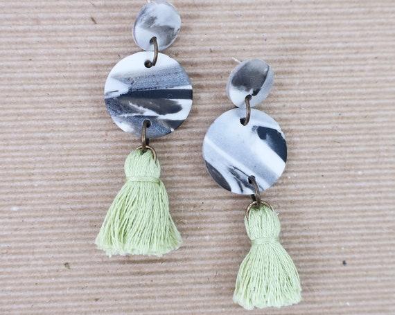 Marble Lime Tassel Clay Earrings