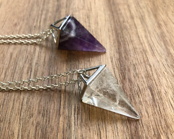 Silver Crystal Pyramid Pendulum Necklace