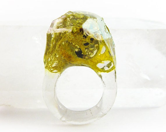 Asymmetrical Faceted Terrarium Ring | Size 4.5
