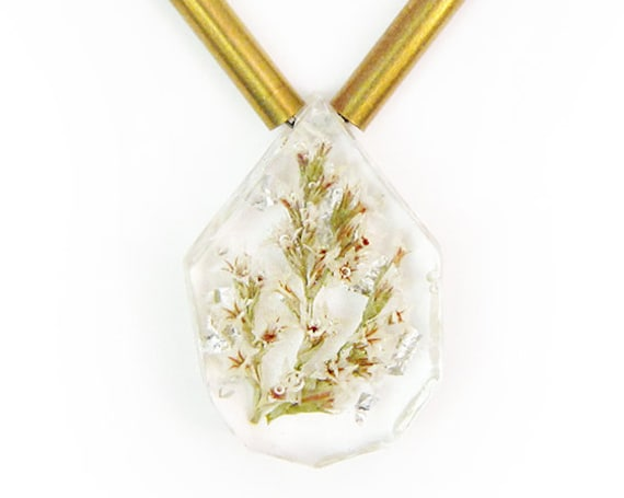 Flower and Silver Leaf Sphere Necklace with Brass Accents