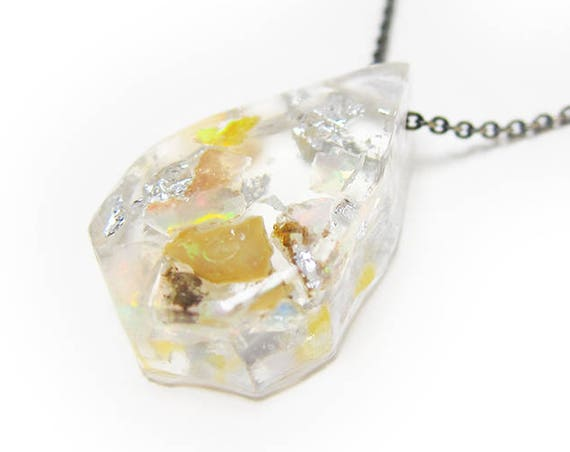 Small Opal Fragment and Silver Leaf Eco-Resin Raw Stone Necklace