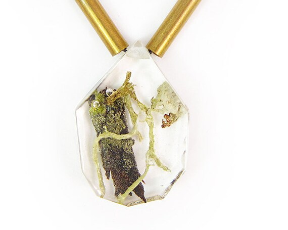 Terrarium and Brass Necklace
