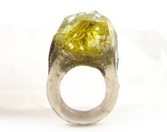 Terrarium + Silver Leaf Resin Ring   4.5