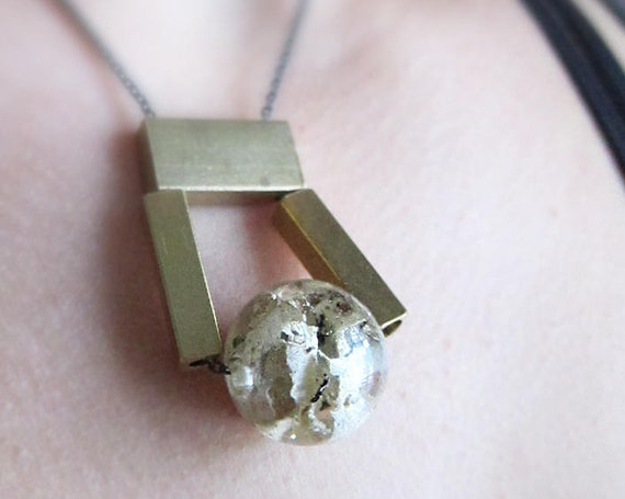 Lichen Resin Sphere Bead and Brass Geometric Necklace